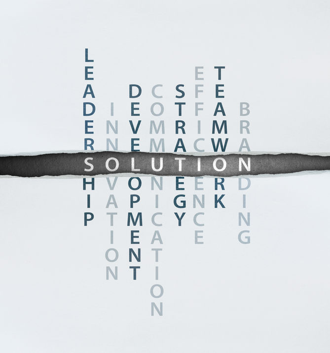 Solution Concept with leadership, innovation, development, communication, strategy, efficience, teamwork, branding